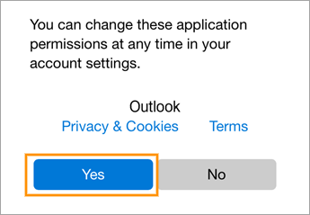 Outlook iOS permissions screen