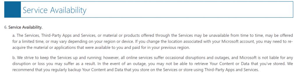 MS Service Agreement screenshot